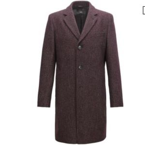 Boss Men's Slim-fit Coat In Dark Red 46R